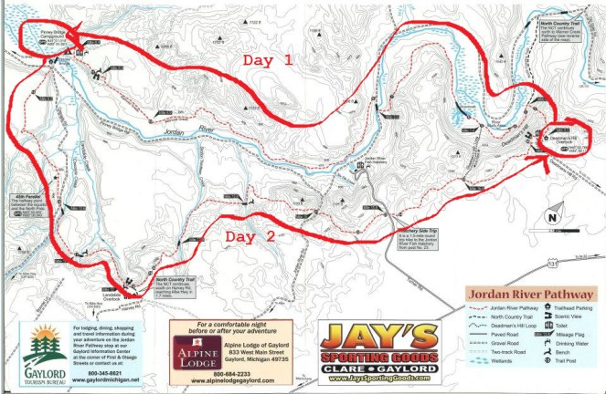 Jordan River Pathway Hiking Map Michigan - Aum Journeys LLC